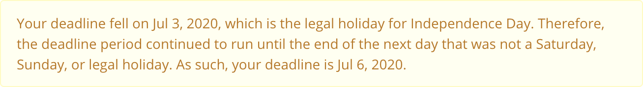 Virginia Deadline Calculator legal holiday alert