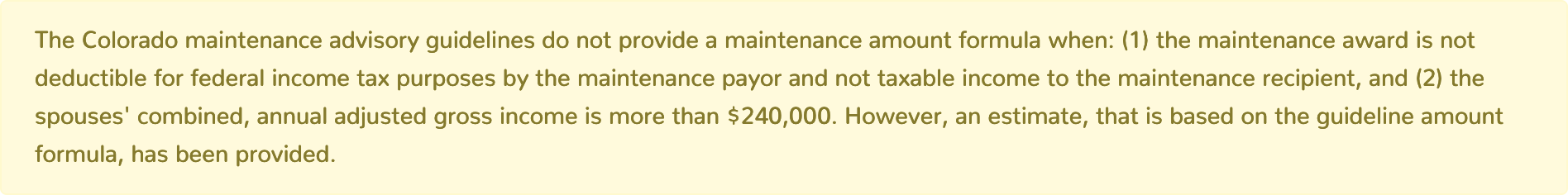Colorado Maintenance Calculator combined adjusted gross income greater than 240000
