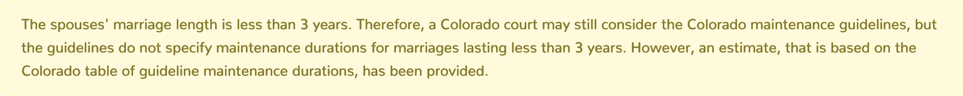 Colorado Maintenance Calculator marriage length less than three years