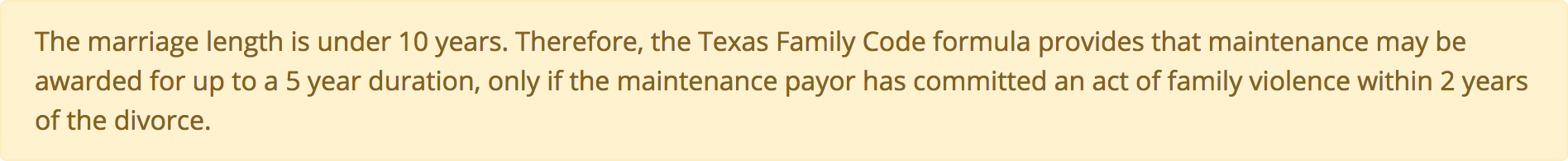 Texas Maintenance Calculator family violence exception